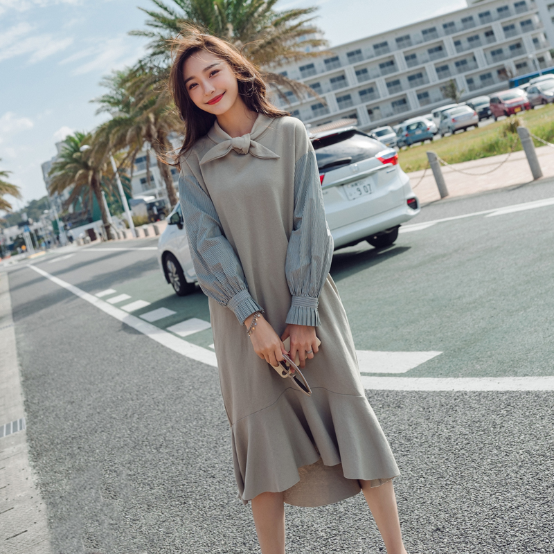 Bord Moyen Fishtail Femmes 1 Solide Haute Casual Qualité Manches Lotus Robe Long 2018 Élégant Style Automne Longues Hiver Feuille dIZZSqrw
