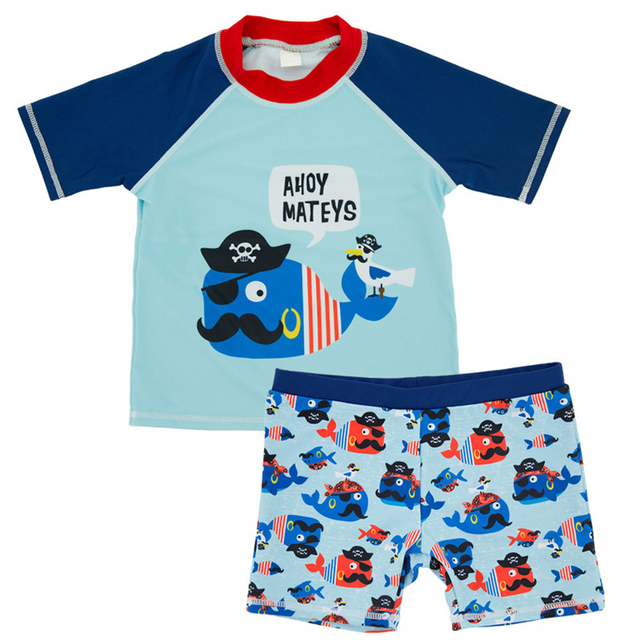 Mioigee 2018 New Kids Swimwear Boy Boys Swimsuit Fashion Cartoon Two