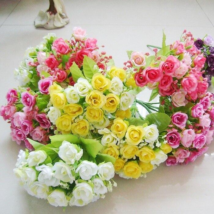 Vivo peque a de flores de pl stico de 21 cabeza peque a for Plastico para estanques artificiales