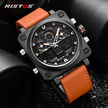 RISTOS, военные часы для дайвинга, 50 м, с нейлоновым и кожаным ремешком, светодиодный, мужские часы, Лидирующий бренд, роскошные кварцевые часы, reloj hombre, Relogio Masculin