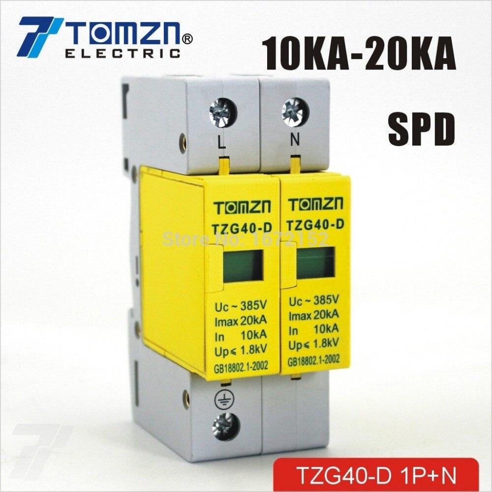 СПД 1 P + N 10ka ~ 20KA D-385vac дом Стабилизатор напряжения защитные низкого напряжения перенапряжения