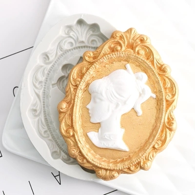 Girls head silicone decorative mold cup cake chocolate mold European classical embossed fondant silicone mold resin clay moulds in Clay Extruders from Home Garden