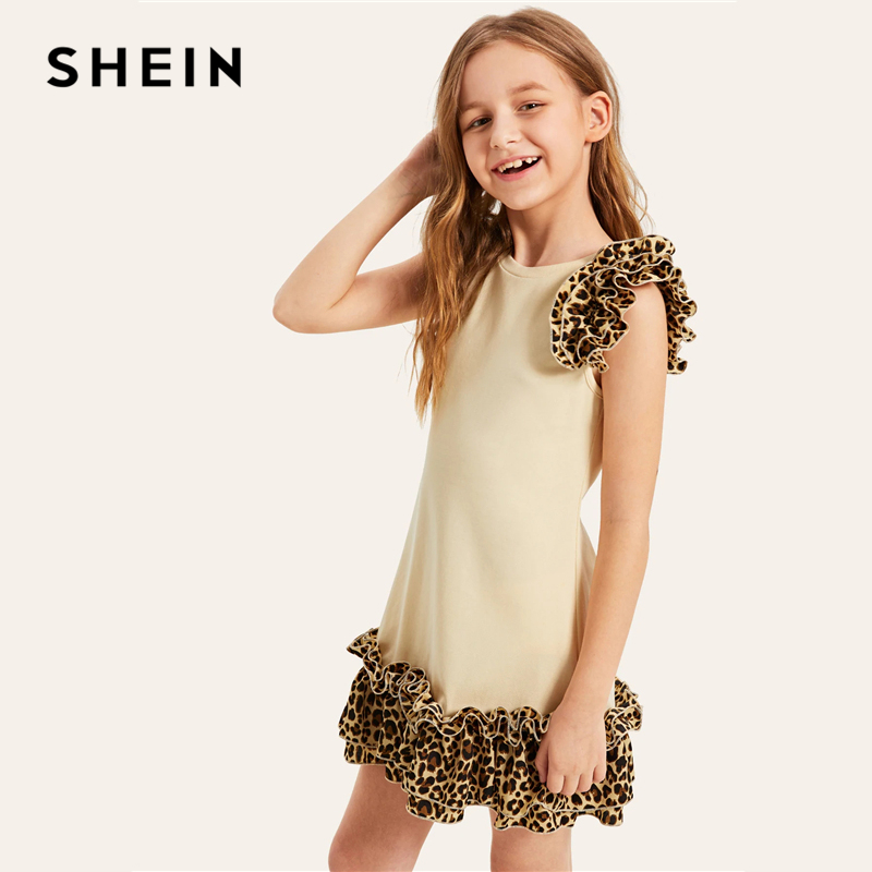 SHEIN Kiddie Apricot Contrast Layered Leopard Print Ruffle Cute Girls Dress 2019 Summer Sleeveless Casual Kids Dresses For Girl o neck sleeveless bow ball gown child girl party dress flower baby kids clothes girl dresses princess costume cinderella dress