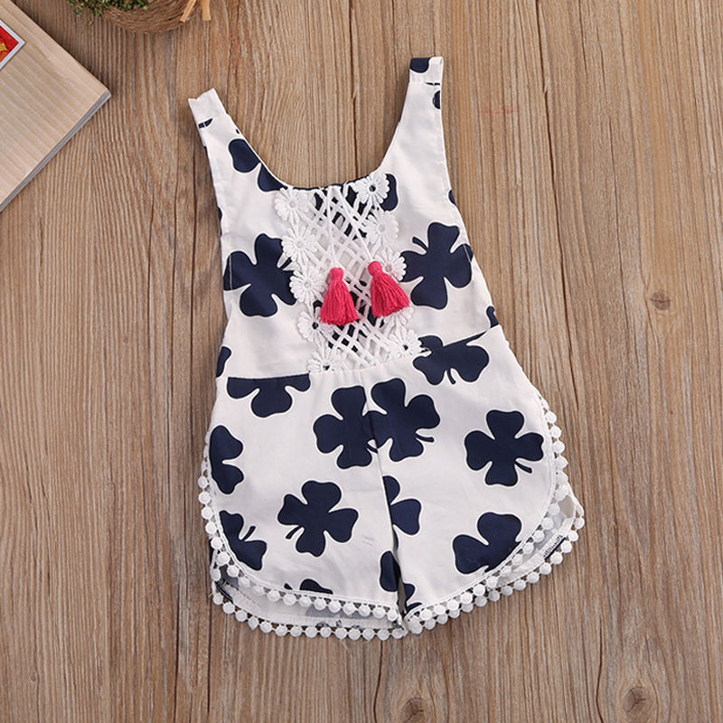2017 Newborn Baby Girls Summer Clothes Clover   Romper   Sleeveless Backless Halter Jumpsuit Outfits Toddler Kids Sunsui