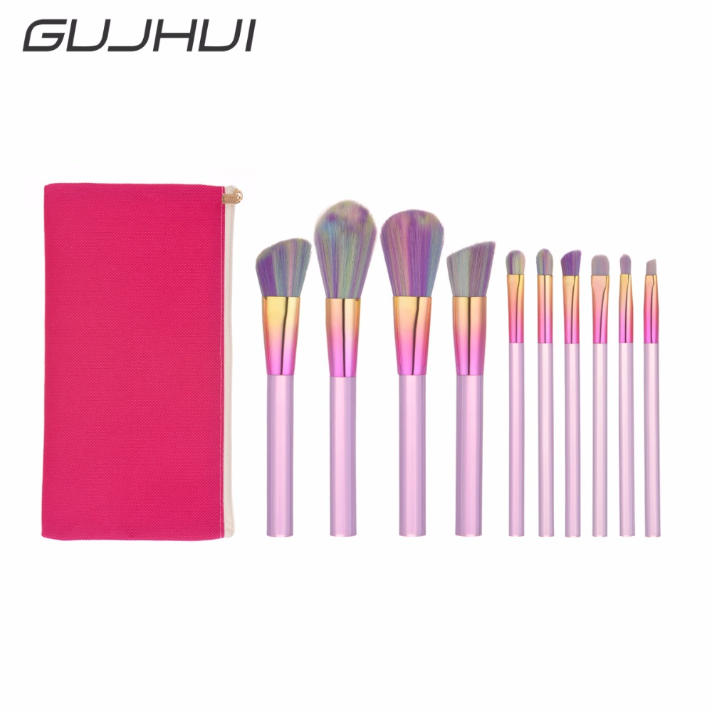 New 10 Makeup Brushes Multi-color Crystal Handle Powder Blush Foundation Eye Shadow Makeup Brush Combination Brush Cosmetic Ba