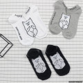 RIPNDIP Japanese Harajuku Middle Finger Cat Ankle Socks Women Men Funny Cartoon Cotton Boat Socks For Lovers