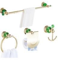 4Pcs Green Crystal Brass Bathroom Hardwre Set Wall Mounted 50cm Towel Bar Gold Towel Ring Roll Holder Robe Hook Bath Accessories