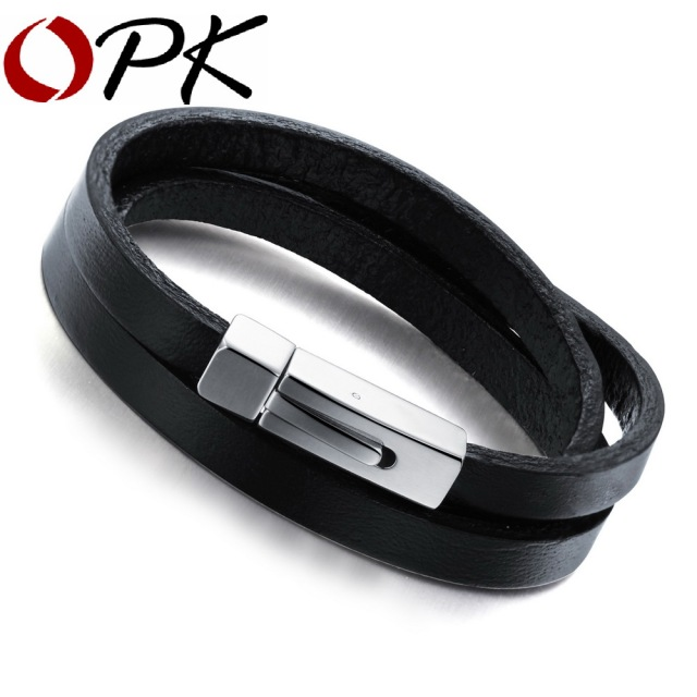 OPK Brand Fashion New 2016 Three Layers Real Leather Bracelets Classical Full Steel Magnet Clasp Men Jewelry Low Price, PH908