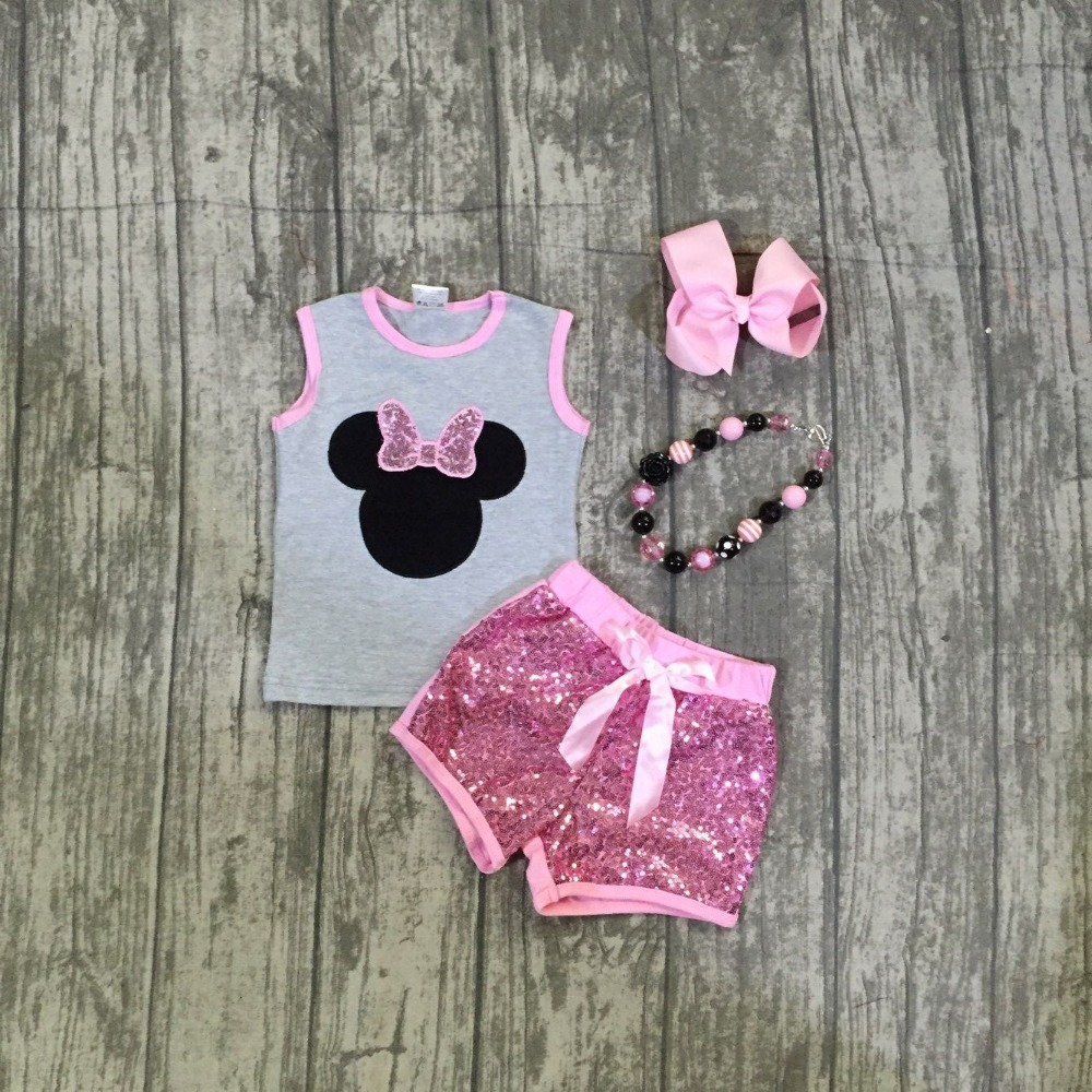 2018 summer new arrivals grey pink Sequins mouse pattern cotton boutique outfits top shorts with matching accessories sleeveless pink casual sleeveless hooded top