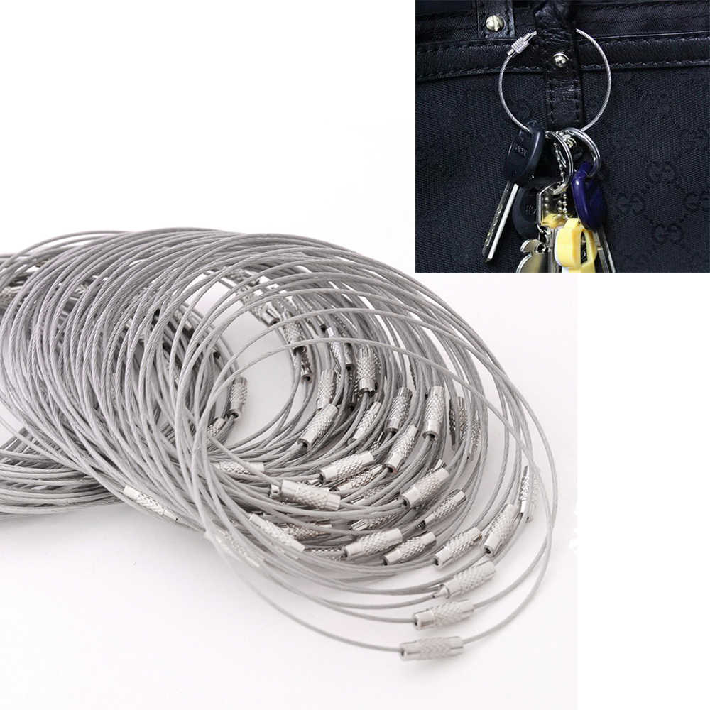 wholesale 50PCS/lot Screw Locking Stainless Steel Wire Keychain Cable Rope Key Holder Keyring Key Chain Rings Cable Outdoor Hiki