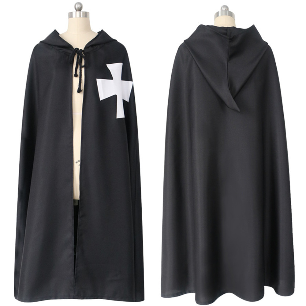 New Halloween Men's Crusaders White/Black Adult Templar Knight cosplay Sleeveless Jacket Cape Belt Cloak Halloween Cloak Costume
