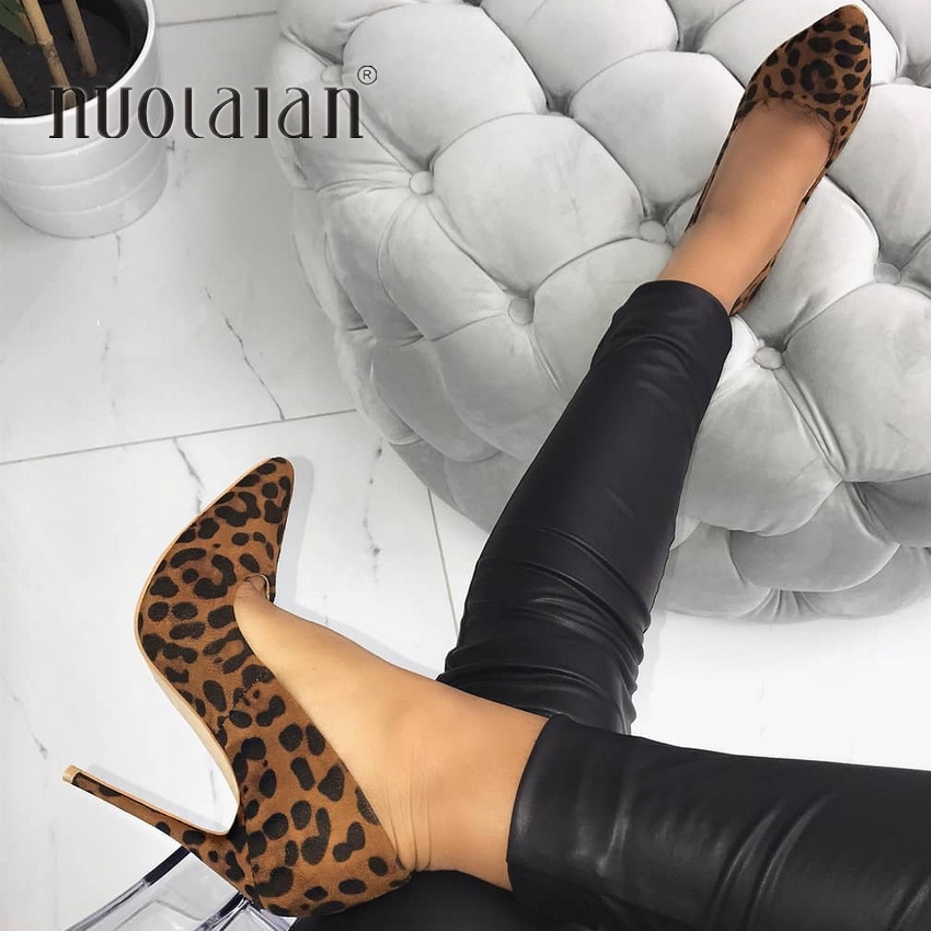 Brand fashion women pumps Leopard high heel shoes