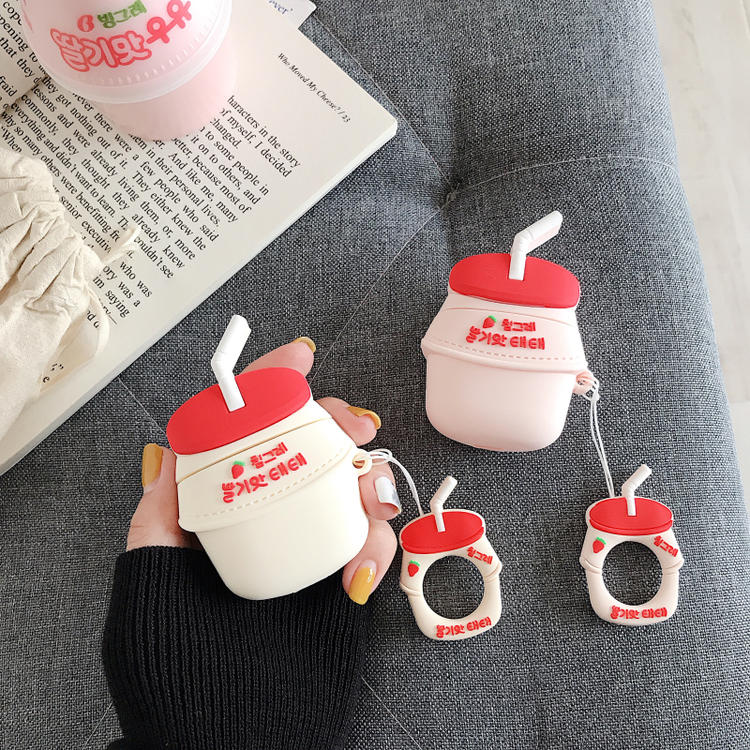 Image 3 - 3D Cute BINGGRAE Banana Strawberry Yogurt Milk Bottle Earphone Cases For Apple Airpods 1 2 Silicone Protective Headphones Cover-in Earphone Accessories from Consumer Electronics