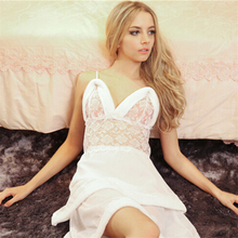 Sexy Lingerie Satin Lace women night dress Sleepwear Robe Sexy Night Gown Bathrobes sleepwear evening dress nght