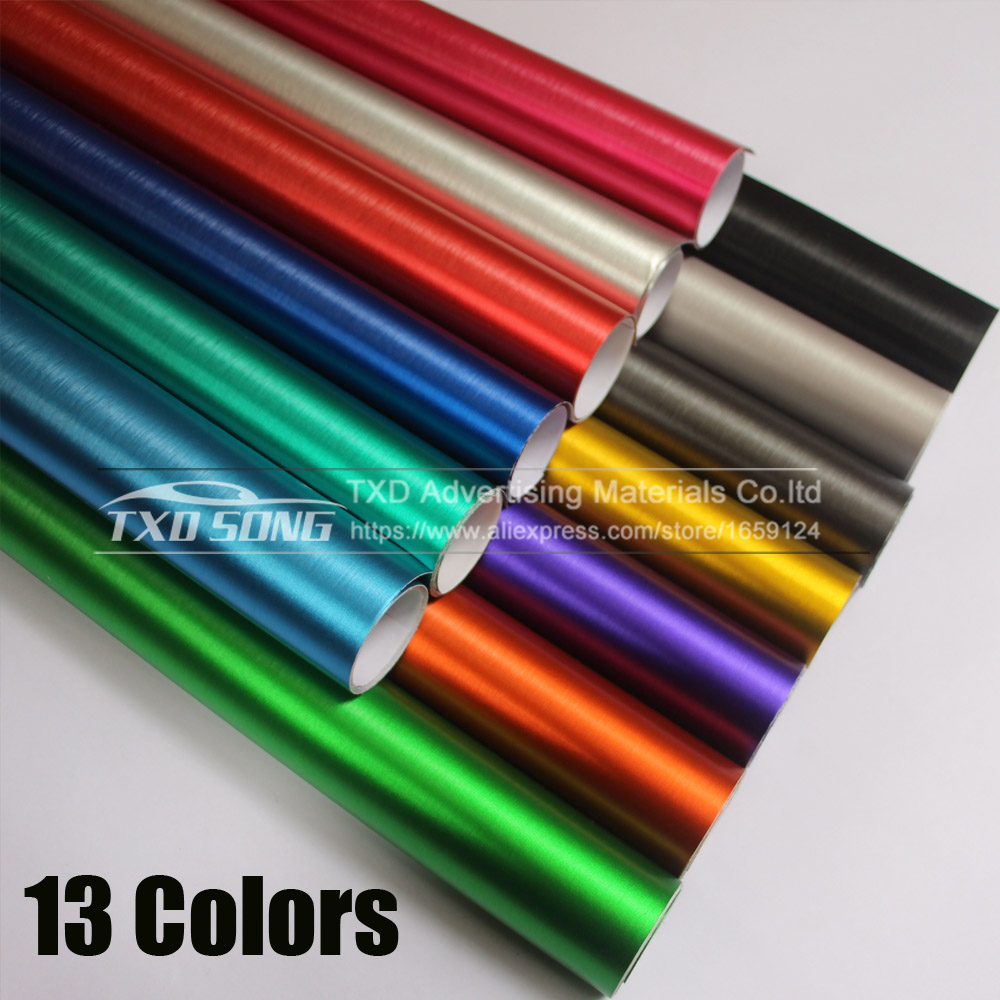 цена на Good Quality Chrome Metallic Brushed Aluminum Vinyl Metal vinyl Car Wrap Film Car Sticker Styling Auto Foil Decoration