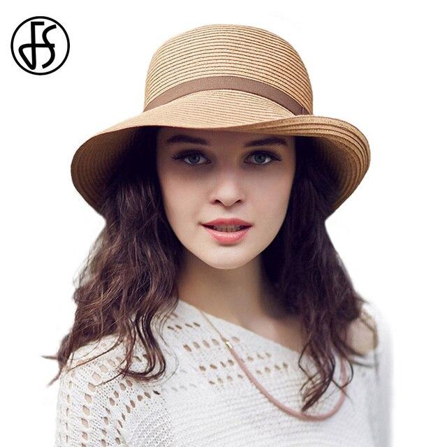FS verano de las mujeres sombreros de playa 2019 ancho Brim Floppy sombrero  de sol cinta 25571de635a