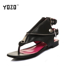 YOZO Women Sandals Genuine Leather Sandals Fashion Gladiator High Quality Luxury Sexy Sandals Women Brand Shoes Zapatos Mujer