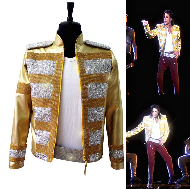 US $156 99 |Rare MJ Michael Jackson Shocked New Fashion 3D Holographic  Slave To The Rhythm LIVE Billboard Music Awards Crystal Golden Jacket-in