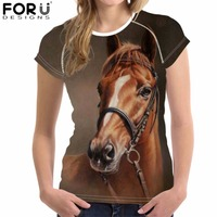 FORUDESIGNS T Shirt Women Harajuku Tops Tees Craze Horse Printing Teens Girls T Shirts Feminism Ladies