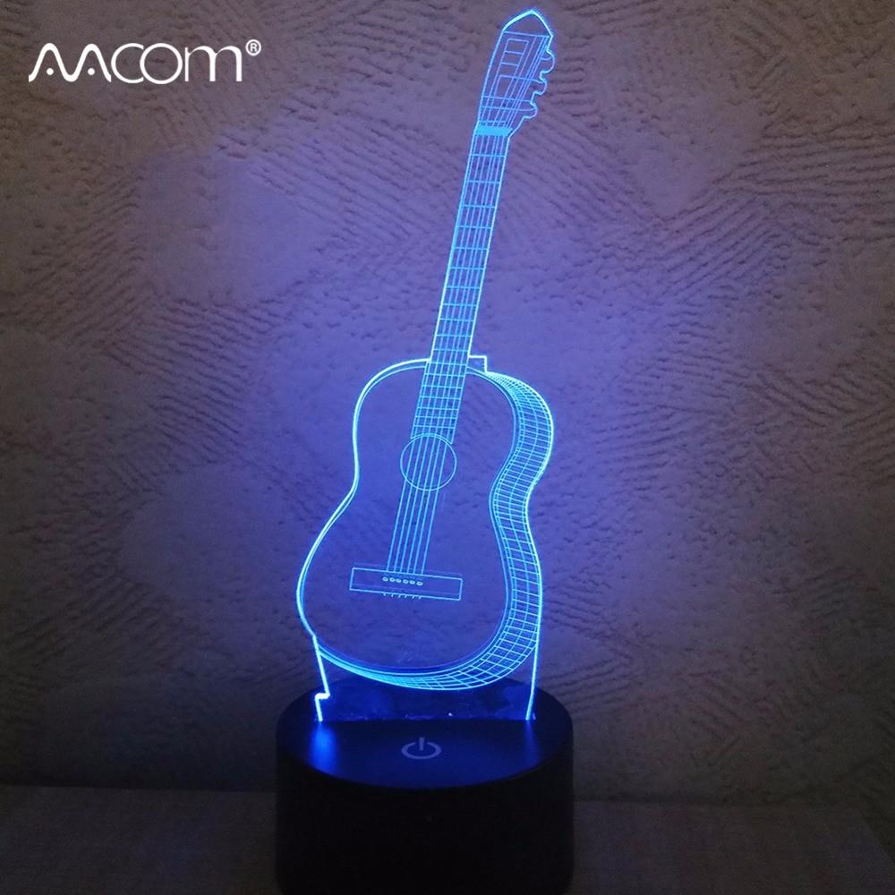 5V USB LED 3D Guitar Night Light Home Indoor Decor Festival Birthday Christmas Gift Creative Present Novelty Lamp AAA Battery