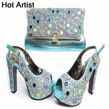 Hot Artist New Europea Crystal Ladies Shoes With Matching Bags Set Italian High Heels Shoes And Bag Set For Wedding Party G35