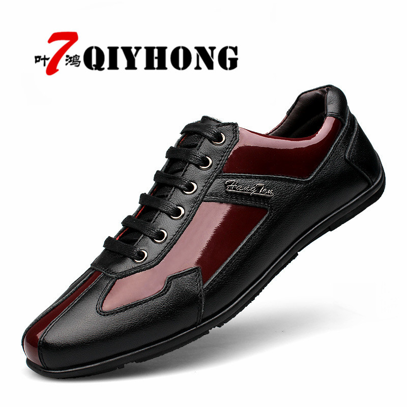 QIYHONG Brand Fashion Genuine Leather Men Shoes, High Quality Black Red Men Casual Shoes, Fashion Flat Shoes Big Size:36-48 men loafers shoes needbo brand handsome comfortable top quality men casual shoes genuine leather fashion breathable shoes men