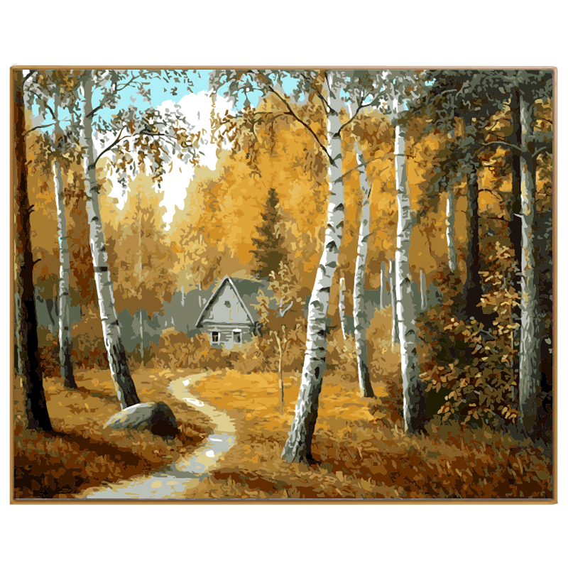 PHKV New Home Decor Pictures On Canvas Diy Hand Painted Modern Landscape Autumn Forest Diy Oil Painting By Numbers Kits Wall Art
