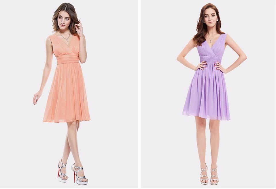 Elegant Double V-neck Short Bridesmaid Dress