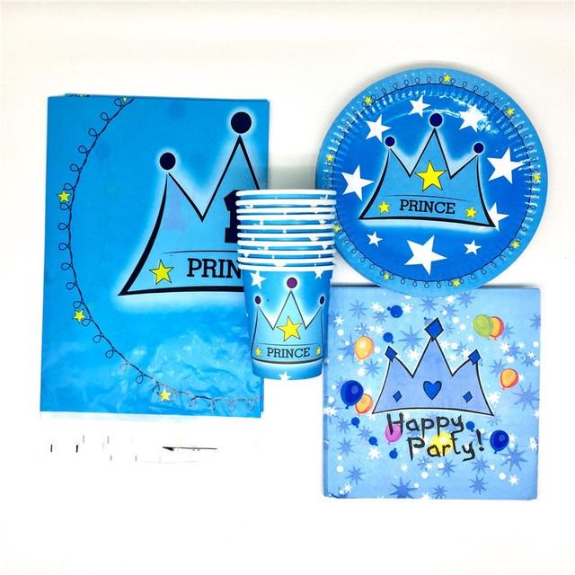 61 шт./партия, декоративные салфетки с изображением принца короны, чашки на день рождения, Детские скатерти, Детские тарелки, принадлежности