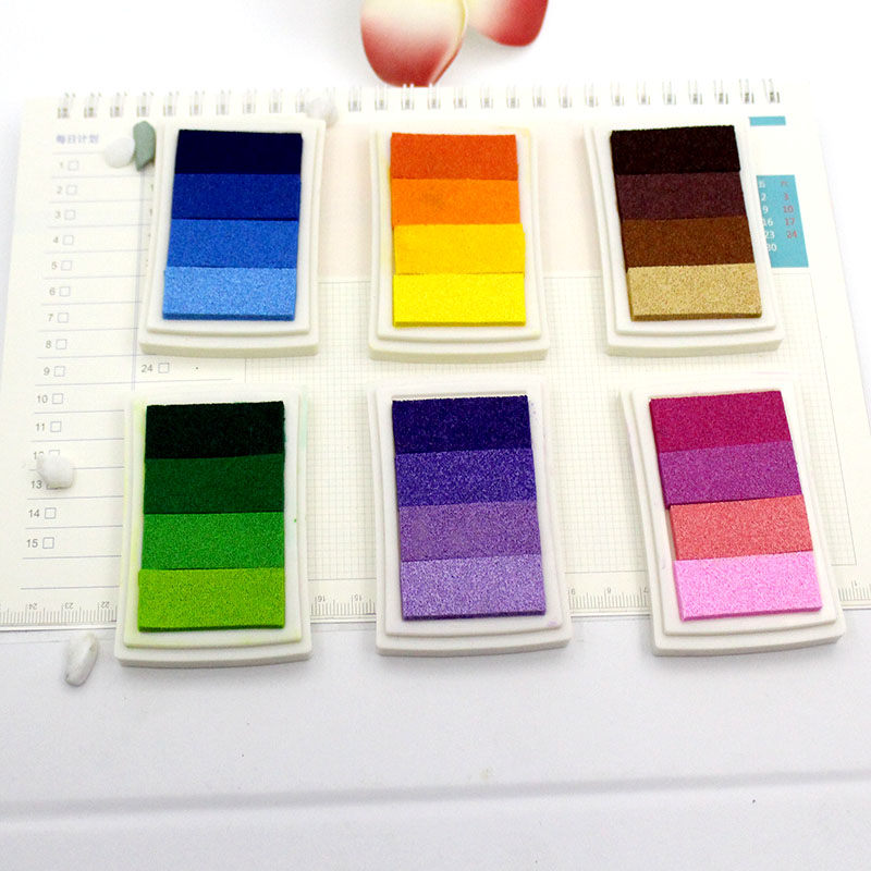 1 PC Exquisite Color Gradually Changing Oil Painting DIY Scrapbook Album Gradient Seal Set Cushion Ink Ink Handicraft DIY