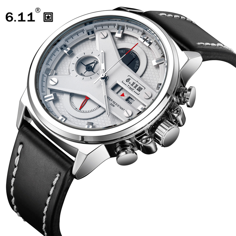 6 11 New Mens Watches 3D Design Sport Leather Watch Waterproof Quartz Watches Man Clock Mens
