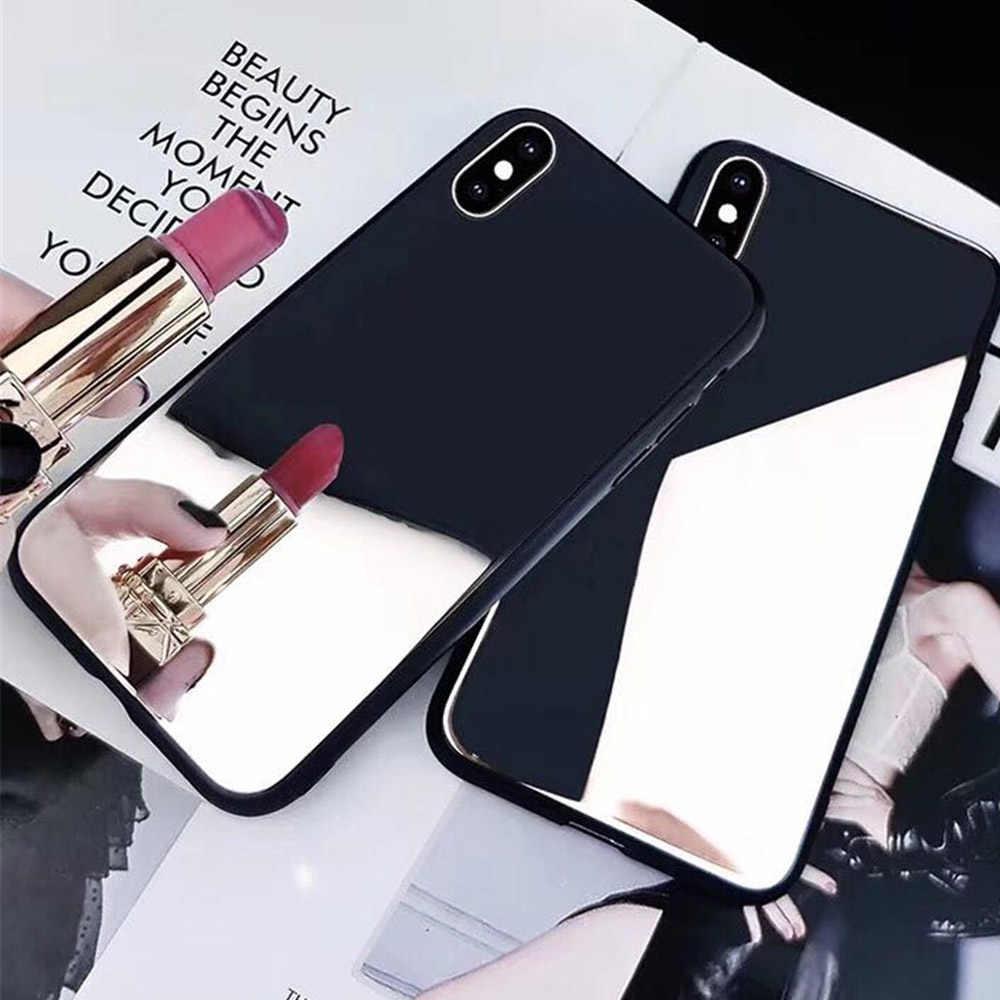 化粧鏡バックフィット電話ケース A5 2017 A6 A8 プラス A7 2018 豪華な光シェルと黒 TPU バンパー