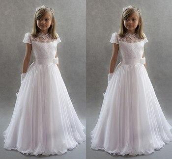 544ee4f09005fe0 Белые платья принцессы с цветочным узором для девочек 2019 г. для свадеб  кружевные рукава шифоновые платья с поясом для первого причастия дет.