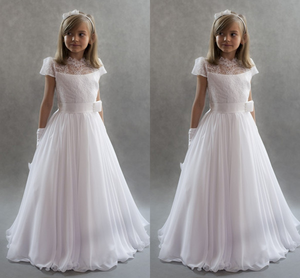 White Princess   Flower     Girls     Dresses   2019 For Weddings Lace Cap Sleeves Chiffon with Sashes First Communion   Dresses   Kids Comunion