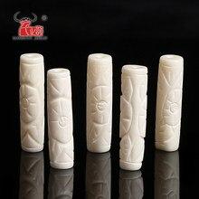 Collier de perles en os de Yak sculpté à bricolage main, 5 pièces, perles tubulaires décoratives pour la fabrication de bijoux, trou de 7x28mm 2mm