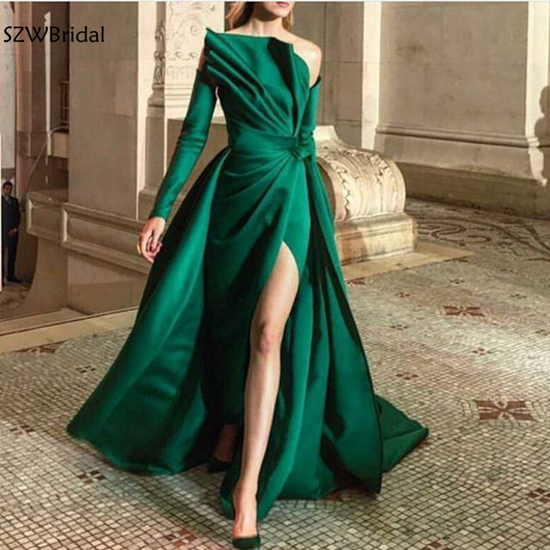 New Arrival Off The Shoulder Green Evening Dresses Long Sleeve Evening Gowns Ruched Slit Sexy Formal Dress Abiye Elbise Dress