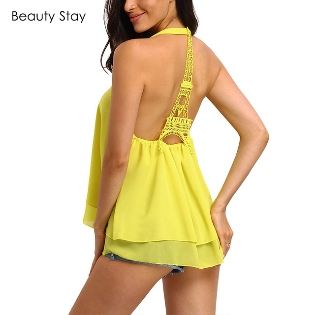 BeautyStay Summer Sexy Halter Backless Women Tank Tops Chiffon Hollow Out  Eiffel Tower Camisole Lace Patchwork Loose Beach Vest f86729f6f13f