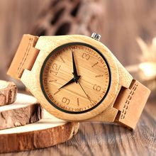 Casual Men's Watch Natural Bamboo Wood Quartz Watches Genuine Leather Straps relojes mujer marca de lujo 2017 Fashion Gift
