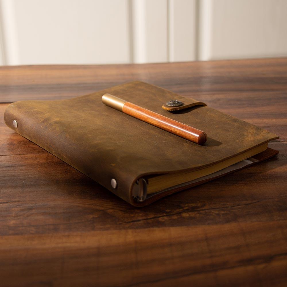Image 3 - handmade Traveler's Note Book notebook brown Genuine Leather Cowhide leather diary vintage loose leaf planner Sketchbook-in Notebooks from Office & School Supplies