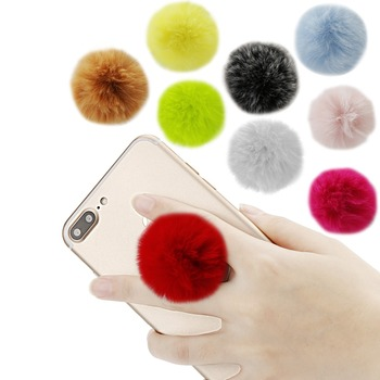 Universal Fur Ball Cute Mobile phone Stand bracket Expanding Stand and grip phone Holder for Pop iphone xs max honor 10