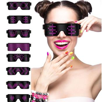 8 Modes Animation Quick Flash Led Party Glasses USB charge DJ Luminous Glasses Christmas Concert light Toys Gift new diy app control multi lingual quick flash led party luminous glasses usb charge christmas concert light toys glow sunglasses