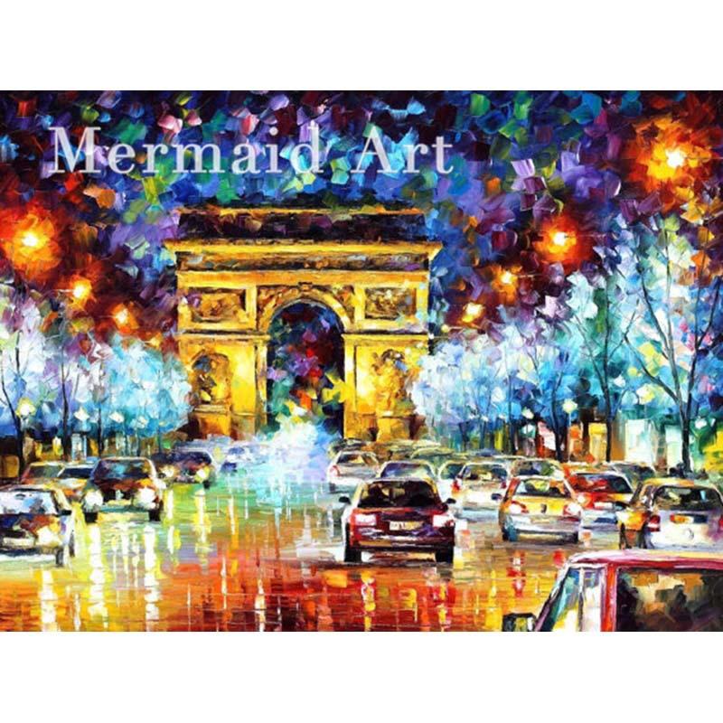 hand painted Palette font b knife b font thick Art Triumphal Paris Flight Modern Artwork of
