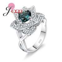 JEXXI 925 Sterling Silver Wedding Promise Rings For Women Girls Wholesale Fashion Jewelry Flower Party Accessories