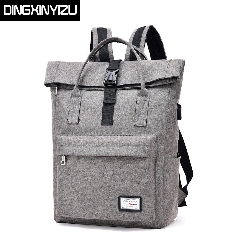 DINGXINYIZU Men Women Canvas Backpacks for Teenagers School Bag USB charging 15.6Inch Laptop Rucksack Casual Travel Male Mochila new canvas backpack travel bag korean version school bag leisure backpacks for laptop 14 inch computer bags rucksack