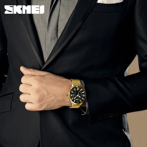 SKMEI Mens Watches Top Brand Luxury Gold Fashion Business Quartz Watch Stainless Steel Male Watches Clock Men Relogio Masculino Lahore