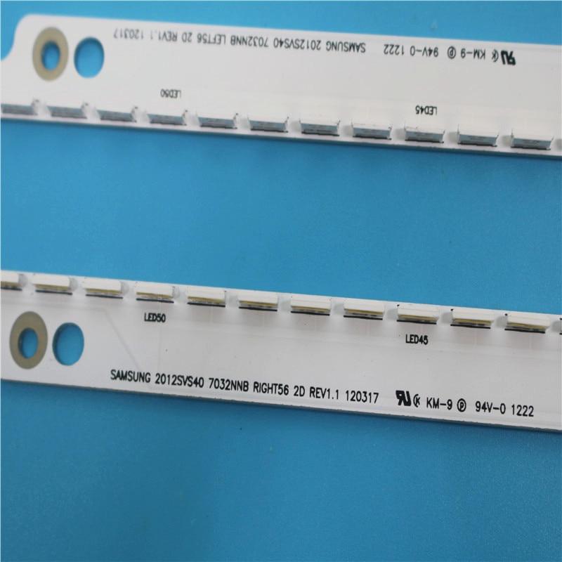 New 2 PCS/set 56LED 500mm LED Backlight Strip For Samsung UA40ES6100J UE40ES5500 2012SVS40 7032NNB RIGHT56 LEFT56 2D Panel