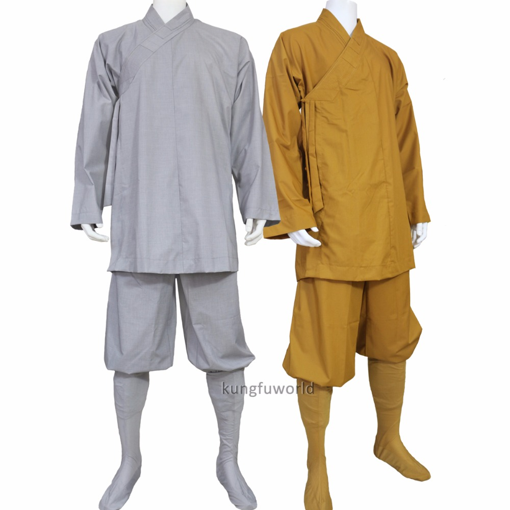 Cotton Shaolin Buddhist Monk Robe Arhat Kung fu Uniform Martial arts Meditation Suit master recommend movement triangle frame wing chun wooden dummy donnie ye used standard kung fu wooden dummy martial arts