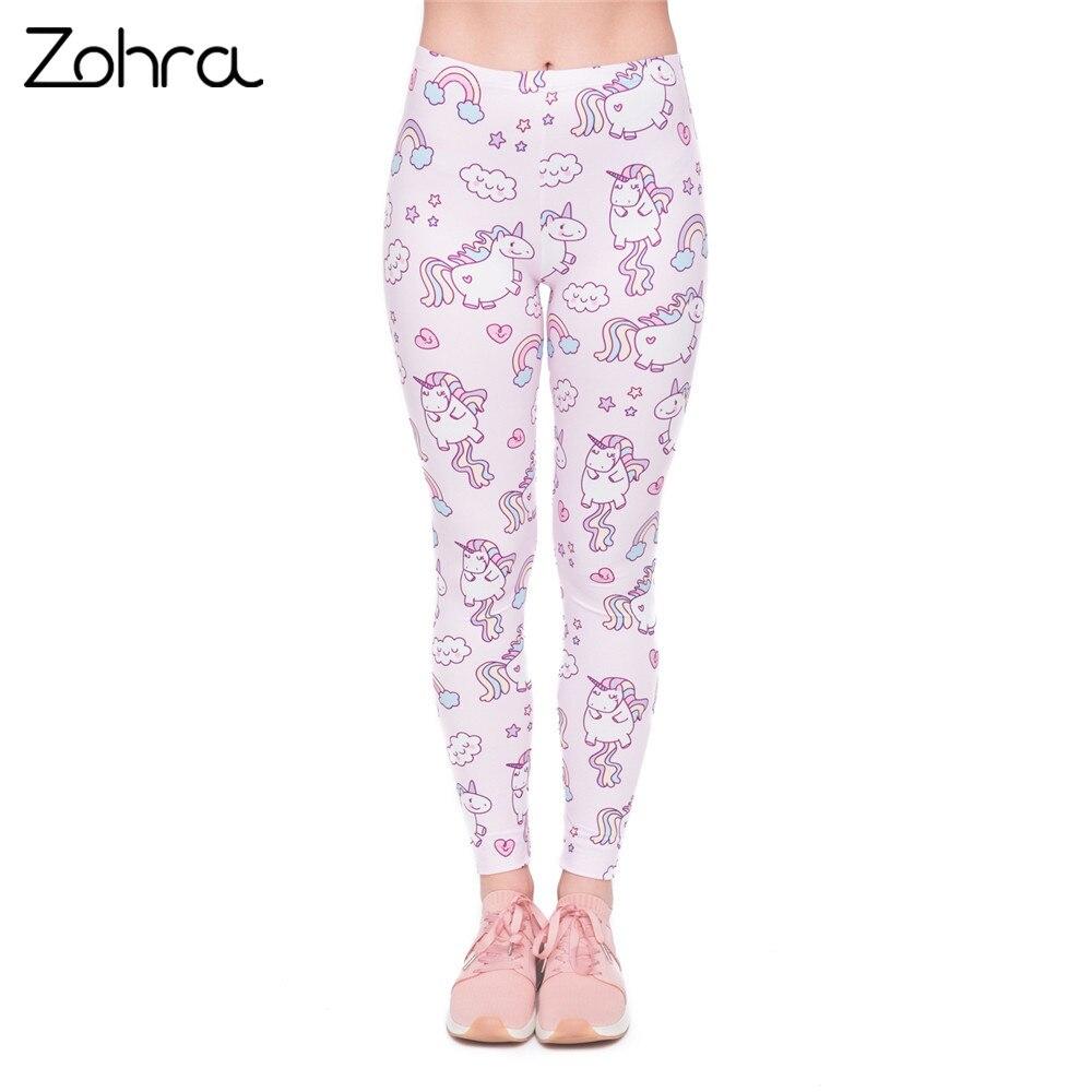 Zohra High Quality Women   Legging   Unicorns World Printing Fashion   Leggings   Elegant Cozy Woman High Waist Pants