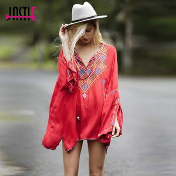 Jastie Women T-Shirt Top Sexy Long Sleeve Boho Embroidery Tassel V-neck Hippie Chic Loose Blusas Feminino Tops