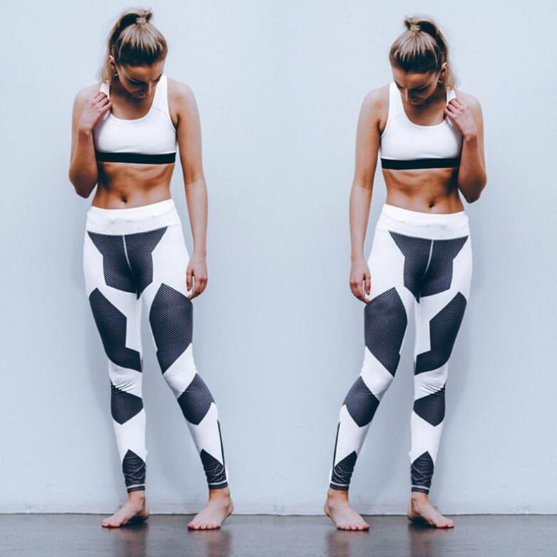 Hot sales printed black and white leggings women s casual pants 2 pieces